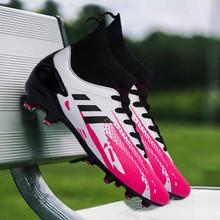 2020 New Arrival Unisex korki wygodna skarpeta buty piłkarskie człowiek luksusowej marki duży chłopiec buty piłkarskie sznurowanie sportowe trampki tanie tanio Mangobox CN (pochodzenie) Miękkie groud (sg) Średnie (b m) Skórzane RUBBER Lace-up Bezpłatne elastyczne Cotton Fabric