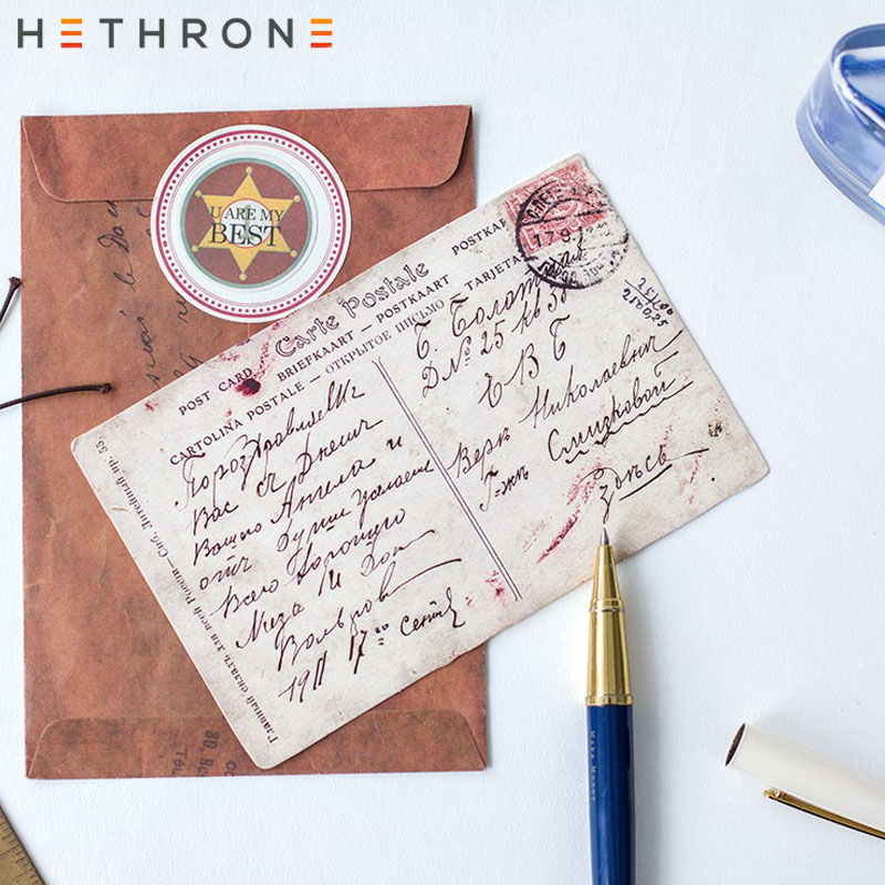 Hethrone 30pcs Classical Retro Craft Paper Postcard Vintage Mini Greeting Card Invitation Envelope Gift Original Shaped Postcard