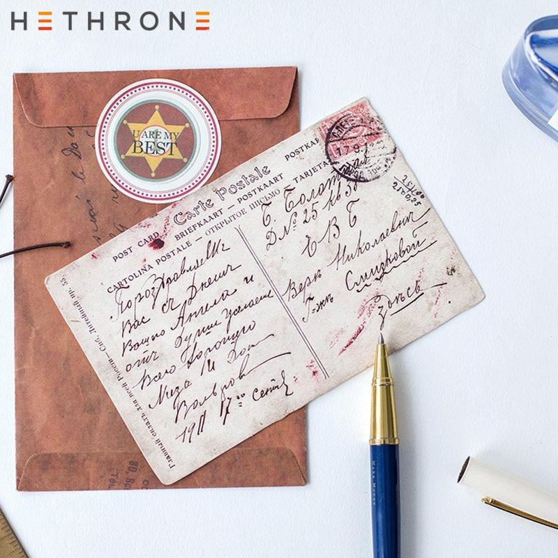 Hethrone 30pcs Classical Retro Craft Paper Postcard Vintage Mini Greeting Card Invitation Envelope Gift Original Shaped Postcard