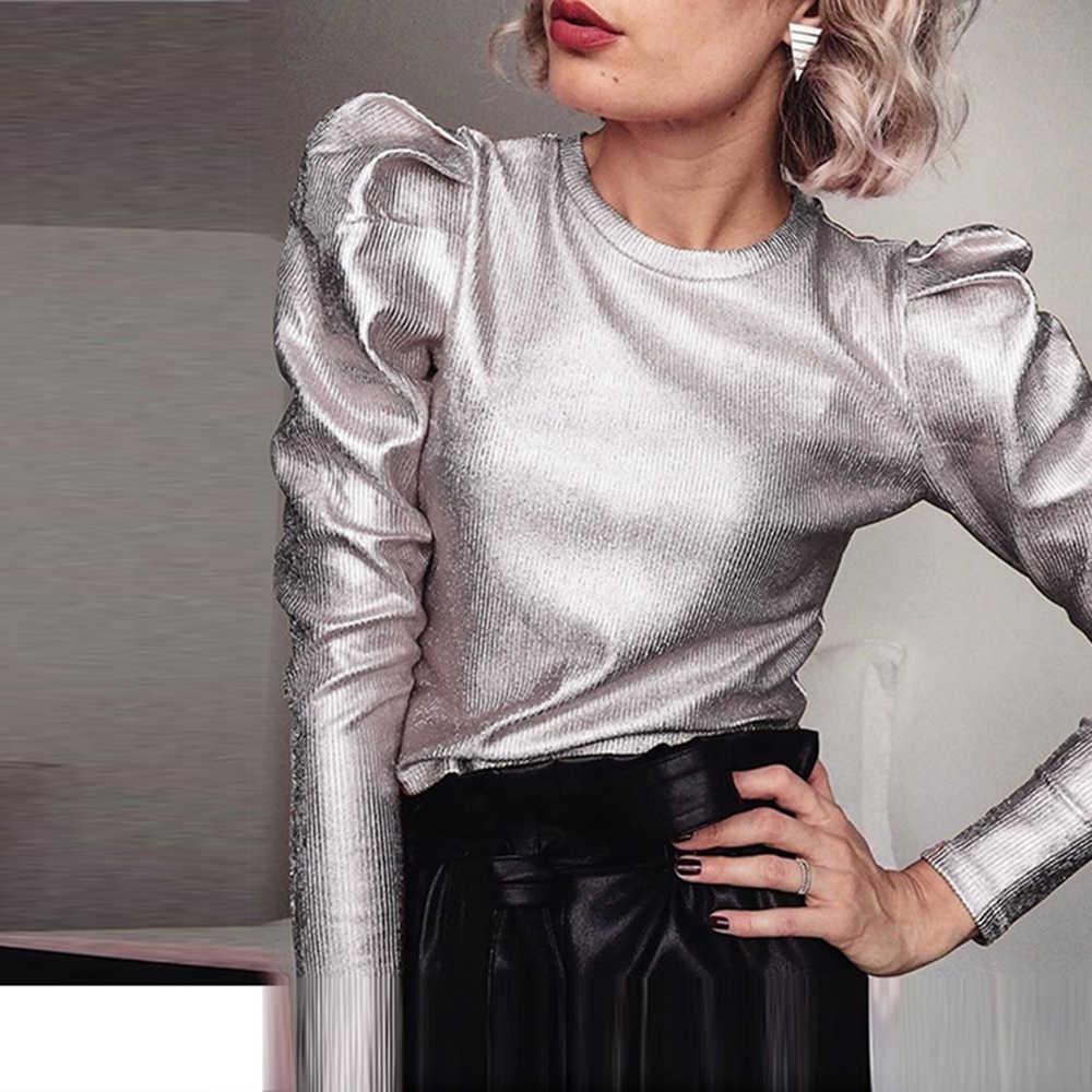 Oro Velluto Puff Manica Lunga T-Shirt casual Magliette e camicette Donna Primavera O-Collo Slim Fit Magliette e camicette di Modo Streetwear Autunno T-Shirt da Donna Calda