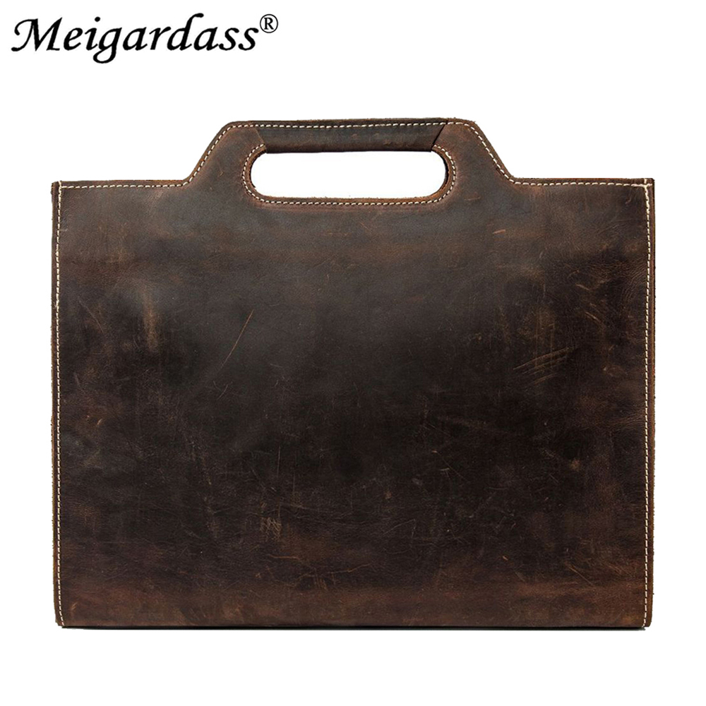 Vintage Crazy Horse Genuine Leather Business Briefcases Men Bag 13 Inch IPad Laptop Handbags Male Office Document Messenger Bags