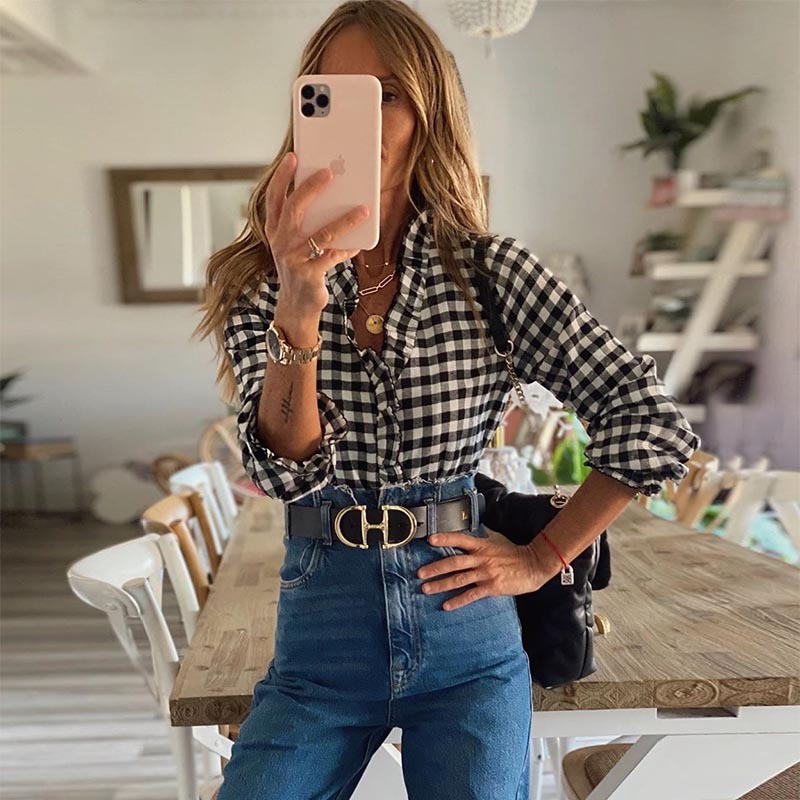Women Ruffled V Neck Plaid Pullovers Blouse 2020 Autumn New Long Sleeve Casual Female Shirt Tops Blusa
