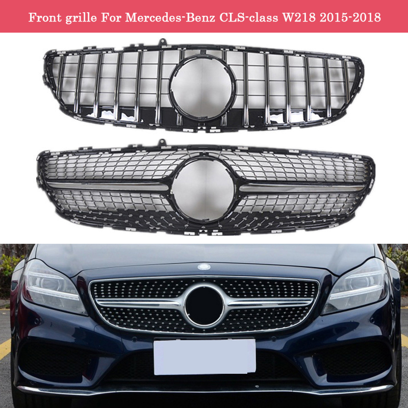 Car styling Middle <font><b>grille</b></font> for Mercedes-Benz CLS <font><b>W218</b></font> 2015-2018 Diamond GT front <font><b>grille</b></font> CLS300 CLS350 vertical bar image