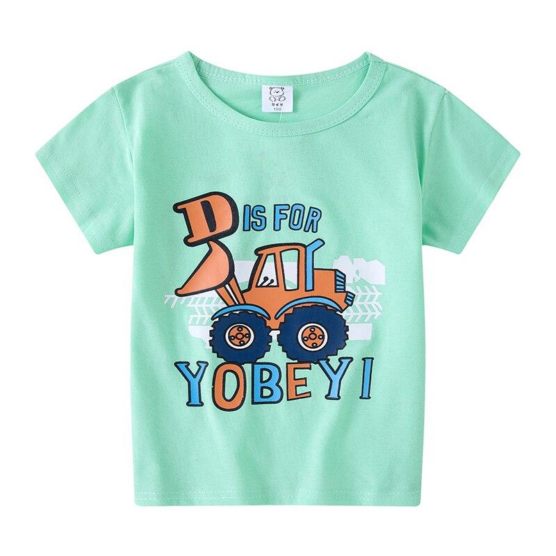 Boys T Shirt Girls Kids Children Tops Cotton Clothing Short Sleeves Summer Clothes Print Cartoon Tee White Orange Black Shirts