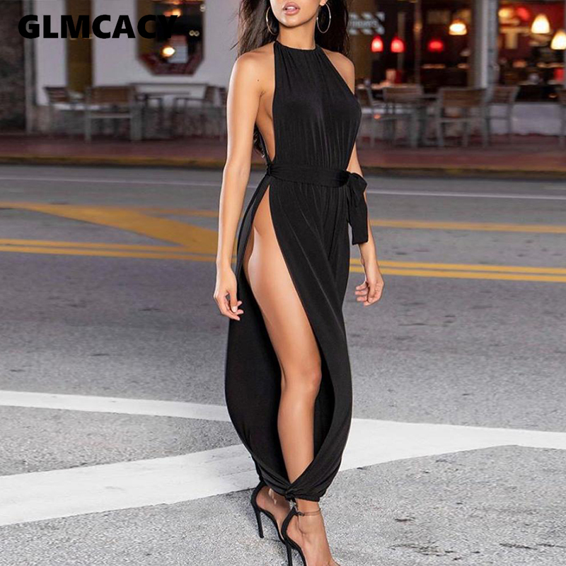 Solid Sleeveless Ruched Slit Jumpsuit Women Sexy Chic Street Wear Summer Overalls