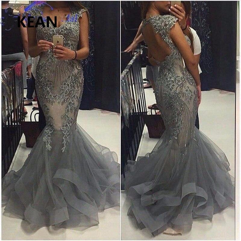 Gray Evening Dress V-Neck Cap Sleeve Mermaid Backless Lace Beads Vestidos Islamic Dubai Kaftan Saudi Arabic Evening Prom Dress