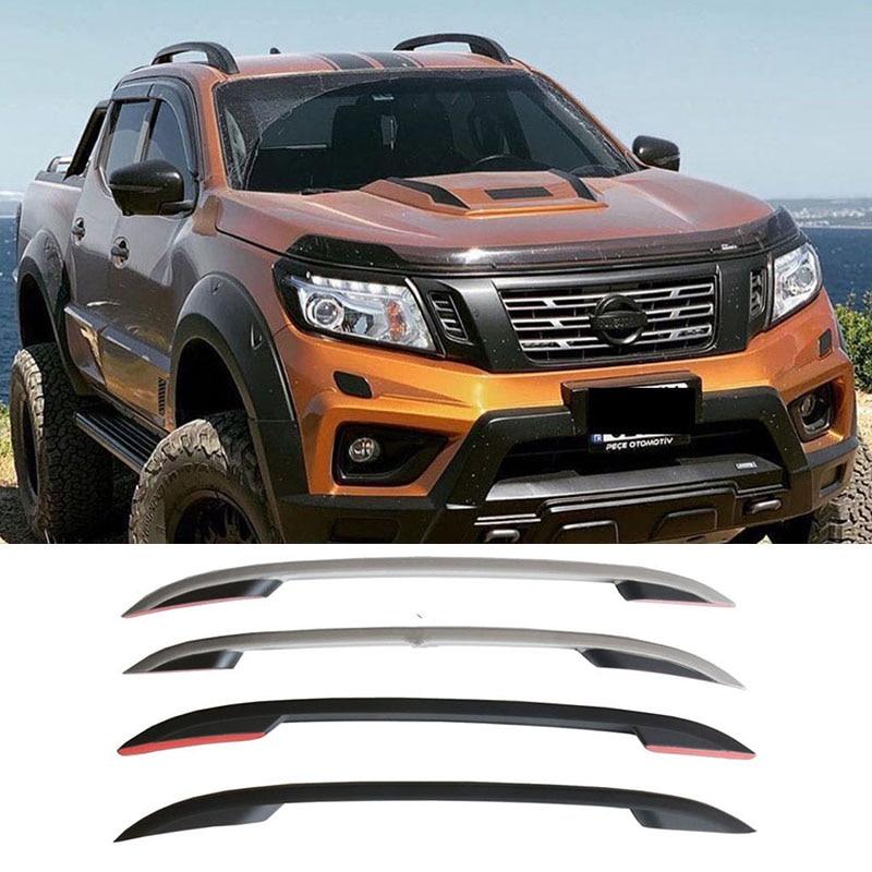 Accesorios de modificación para barras de techo, Kit de carrocería de barra de equipaje con adherencia/tipo de tornillos para Nissan Navara NP300, portaequipajes de coche