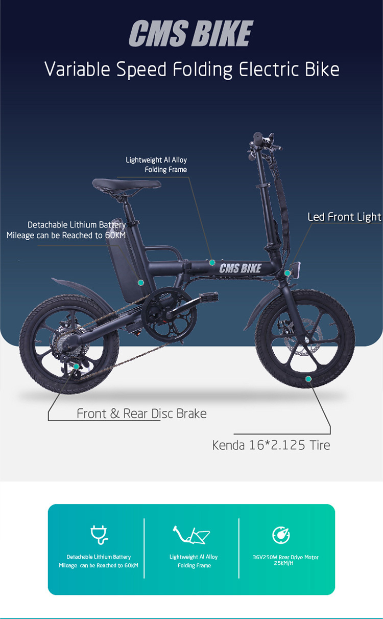 "16"" folding variable speed city folding ebike with aluminium alloy frame 6"