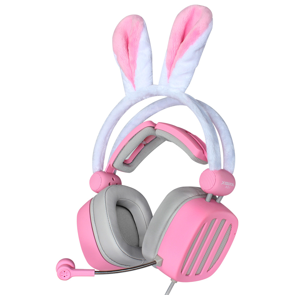 Cute Pink Adorable Rabbit Women Girl Anchor Gaming Headset with Microphone Fashion Wired Gamer Headphone for PC Phone PS Xbox