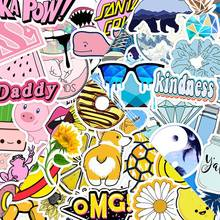 50 Pcs fashion fresh summer waterproof stickers pink yellow blue cartoon stickers for luggage skateboard laptop bicycle stickers