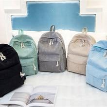 Nova miyahouse estilo preppy tecido macio mochilas feminino corduroy design mochila escolar para adolescentes meninas listrado mochila feminina