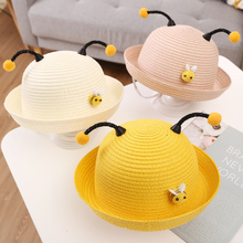 Summer childrens men and women cap  spring hat visor beach cute little bee baby straw sun