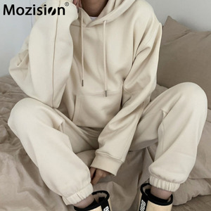 Mozision Solid Casual Two Piece Set For Women Long Sleeve Pullover Hooded Sweatshirt Pants Set Loose Sporty Warm Trousers Sets
