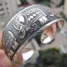 Vintage Tibetan  Elephant Carved Open Bangle Cuff Wide Bracelet Jewelry