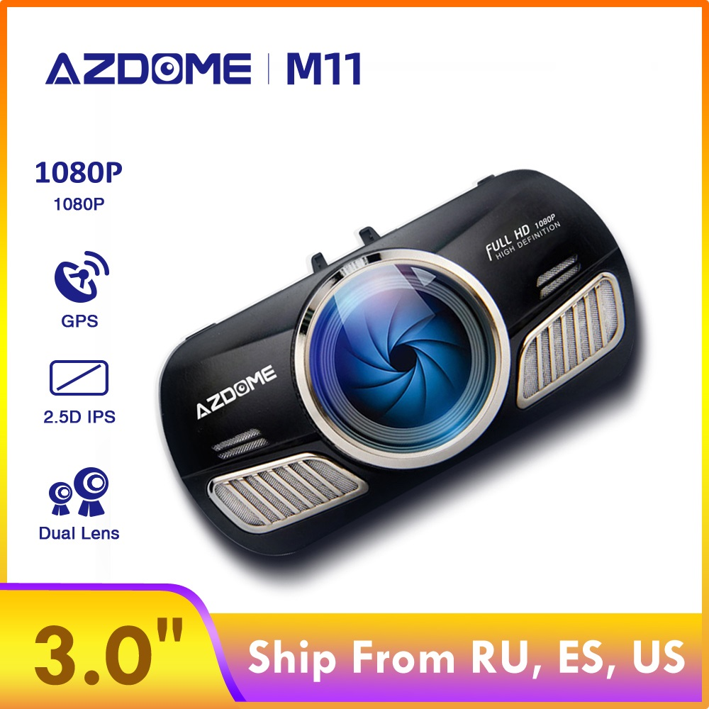 "AZDOME M11 3"" IPS Screen GPS Car Dvrs Night Vision Dual Lens 1080P Reverse Camera Wide Angle Mirror Recorder 24H Parking Mode"