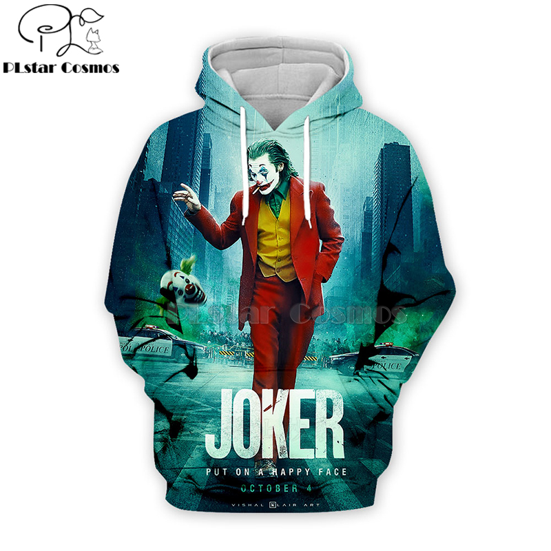 PLstar Cosmos 2019 Dc Haha Joker 3d Hoodies Hooded Sweatshirt Shirt Autumn Winter Long Sleeve Harajuku Halloween Streetwear-2