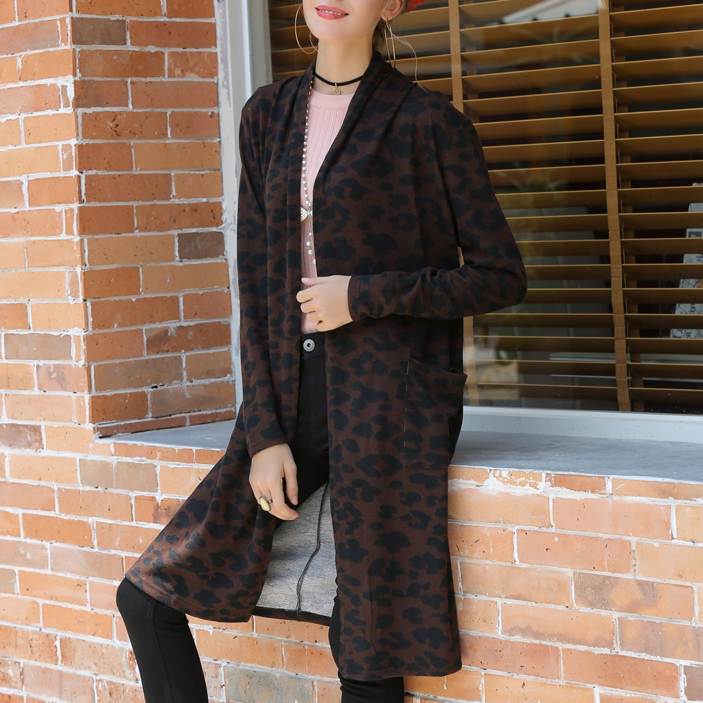 Womens Outerwear Coats Fashion Coat Smock Leopard Print Long Sleeve Fashion Long Cover Female Casual Jacket Overcoat