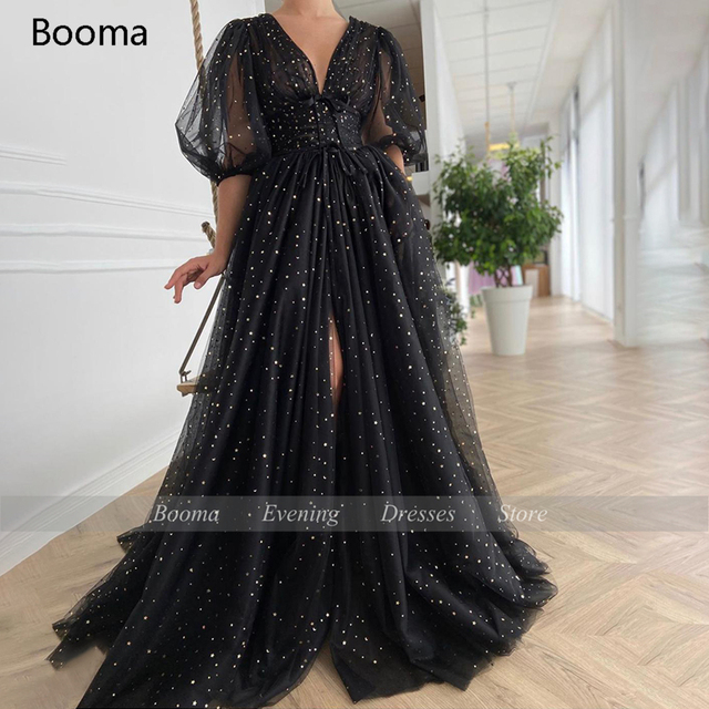 Booma Black Starry Tulle Prom Dresses Sparkly V-Neck Half Puff Sleeves Ruched Wedding Party Dresses Slits Long A-Line Prom Gowns 4