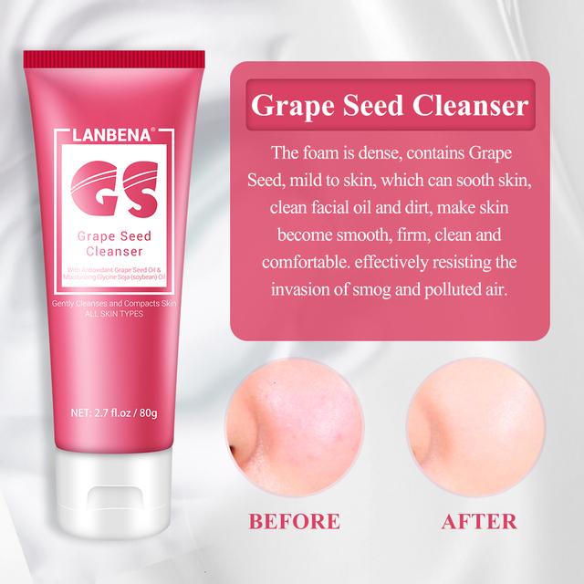 LANBENA Facial Cleanser Face Cleansing Face Wash Foam Face Scrub Shrink Pore Deep Cleansing Moisturizing Oil Control Facial Care