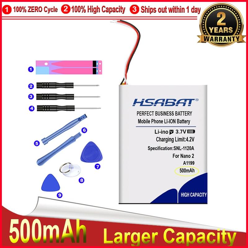 HSABAT 0 Cycle 500mAh 616-0283 616-0287 Battery for Apple iPod Nano 2nd Generation 2 Gen Nano 2 2G 4GB A1199 Nano2 Accumulator(China)