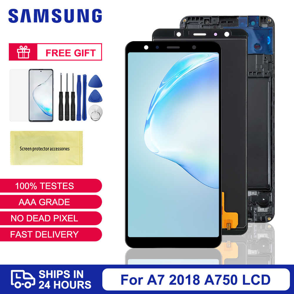 Tft A750 Lcd Voor Samsung Galaxy A7 2018 Lcd SM-A750F A750F A750 Display Met Frame Touch Screen Digitizer Vervangende Onderdelen