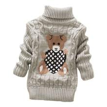 Г. Осенне-зимние детские вязаные пуловеры с высоким воротником для маленьких мальчиков и девочек, теплые плотные свитера с высоким воротником для детей от 2 до 8 лет