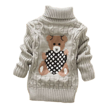 2019 autumn winter  Infant Baby Boys Girl Children Kids Knitted high collar Pullovers Turtleneck Warm thick Sweaters 2-8 year недорого