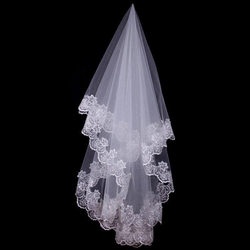 150cm Women Bridal Short Wedding Veil White One Layer Lace Flower Edge Appliques