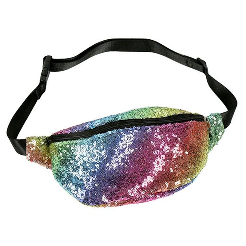 Rainbow Sequins Waist Pack Holographic Women's Chest Waist Bag Women Belt Bag Bum Bag 2019 New