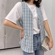 Coats Woolen Cloth Pockets V-Neck Plaid Loose Chic Casual Korea High-Quality Summer Sleeveless