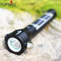 9 in 1 Solar Power LED Flashlight Multi Functional Safety Hammer Torch Light USB Power Bank Magnet Survival Tool Emergency Light