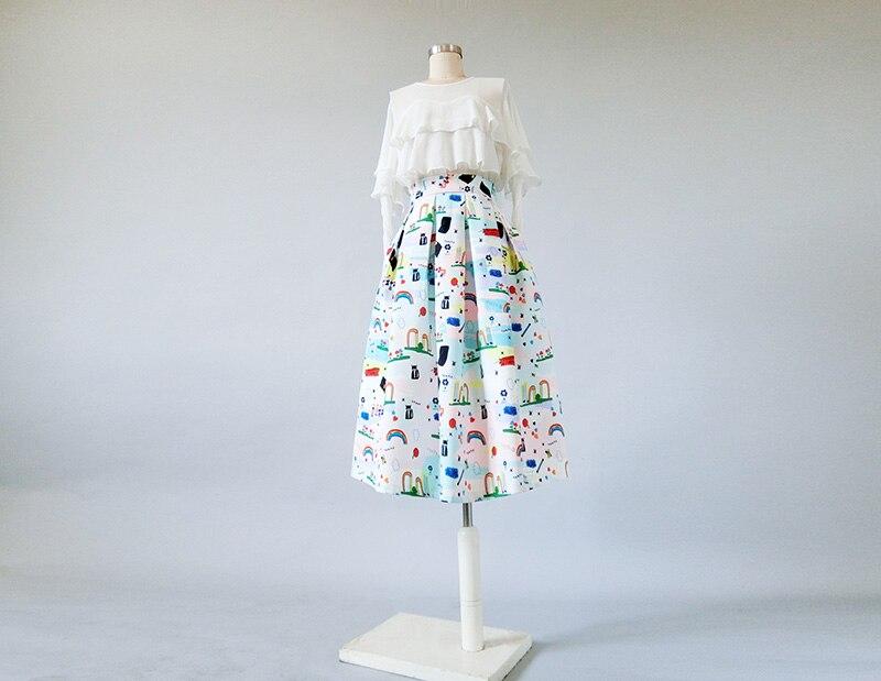 Весна, Осень, Зима, элегантная женская разноцветная юбка средней длины с вышивкой,, XHSD-3375