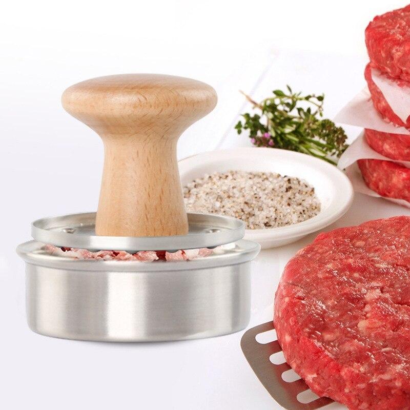 JVSISM Meatloaf Mould Burger Press Stainless Steel 304 Meat Compressor Pressure Apparatus Beech Handle Stainless Steel Meat Press