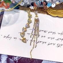 FYUAN Fashion Heart Rhinestone Asymmetry Earrings for Women Gold Silver Color Long Tassel Drop Earrings Wedding Jewelry Gifts цена