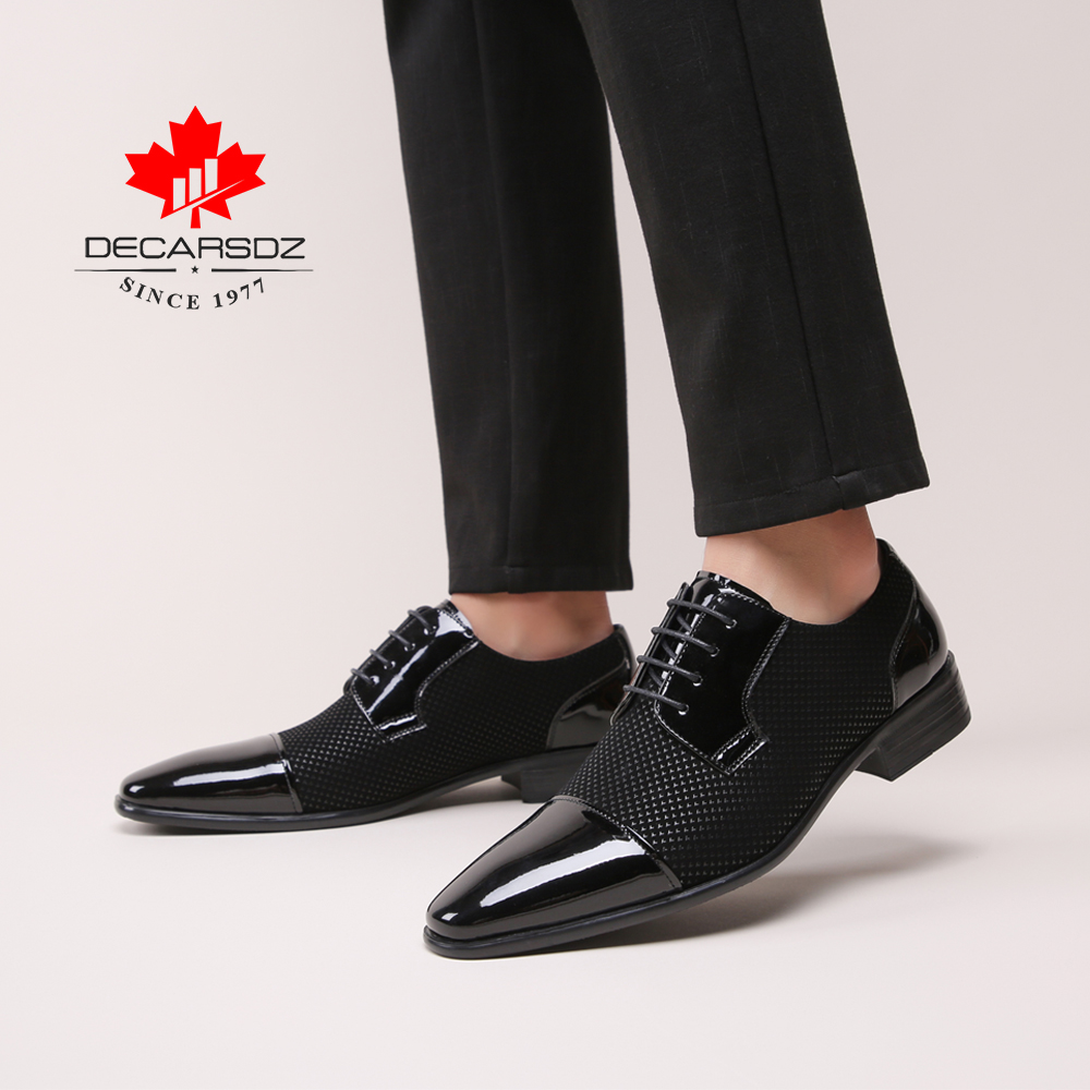 Men Dress Shoes Men Spring & Autumn New Brand Fashion Wedding Men's Shoes Black White Matching Classic Design Male Formal Shoes