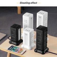 Prise électrique type tour d'alimentation avec fonction de charge, prise verticale, batterie au Lithium, lampe de Table, bande USB multifonction