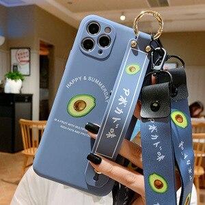 Image 5 - 3D cute cartoon fruit avocado Holder Stand lanyard Soft phone case for P30 40 30 40Pro mate 30 Pro nova7 Pro SE2020 Holder cover