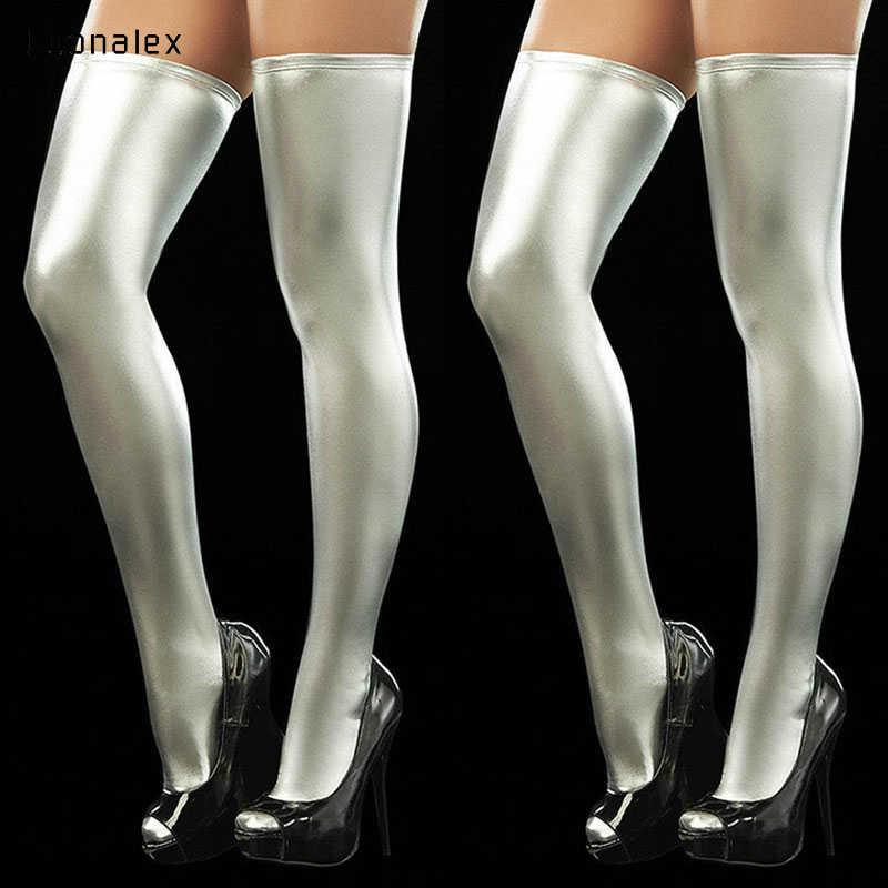 Luonalex แฟชั่นผู้หญิง PU หนังถุงน่องกว่าเข่าถุงเท้ายาวต้นขาสูงถุงน่องสีดำสีแดงเงินทองเซ็กซี่ถุงน่อง
