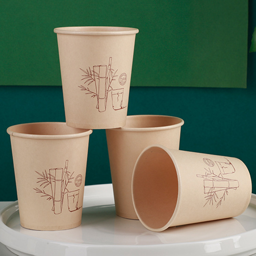 50 Pcs 235ml Bamboo Fiber Office Disposable Cups Coffee Cup Thick Milk Tea Cups High Quality Party Supplies