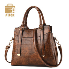 Piler Female Designer Vintage Tote Bag Ladies Large Capacity PU Leather Shoulder Bags Famous Brands Luxury Handbag Women Bags tuladuo women shoulder bag leather large capacity ladies handbag 2017 new spring female tote bag famous brand designer 5 color