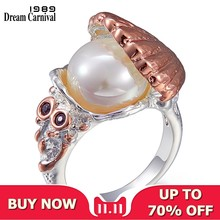 DreamCarnival 1989 New Arrived Women Wedding Ring Pearl Inside Shell Rose Gold Silver Color CZ Fashion Jewelry Must Have WA11773(China)