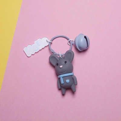 لطيف الكرتون ماوس الحيوان مفتاح سلسلة جرس أصبع كيرينغ النساء سيارة حقيبة العرافة قلادة سلاسل المفاتيح ألعاب أطفال هدايا