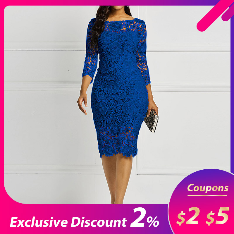 Evening Party Date Women Blue See Through Hollow Out Floral Lace Bodycon Dress Office Lady Spring Summer Work Basic Dresses
