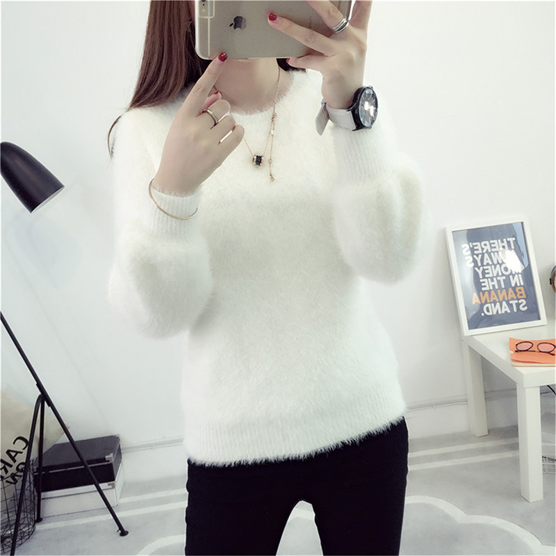 Women Candy Colors Sweaters Fashion Autumn Winter Warm Mohair O-Neck Pullover Long Sleeve Casual Sweater Knitted Tops