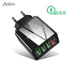 빠른 충전 3.0 usb 충전기 4 포트 usb 빠른 충전 아이폰 xr qc 3.0 벽 어댑터 충전기 삼성 s10 a50 xiaomi mi9