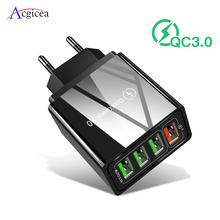 Charge rapide 3.0 chargeur USB 4 ports USB Charge rapide pour iPhone XR QC 3.0 chargeurs adaptateur mural pour Samsung S10 A50 Xiaomi Mi9