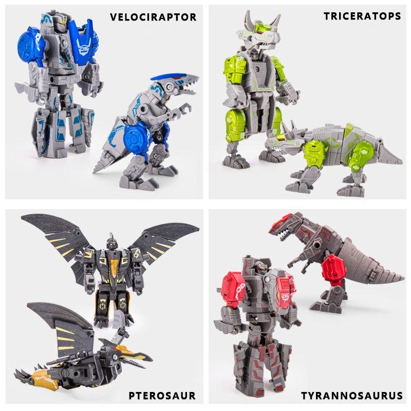Dinosaurio de la bestia blindado de acero de aleación, deformación, tiranosaurio, pterosauro, Velociraptor, Triceratops, Robot combinado, regalo de cumpleaños para niño