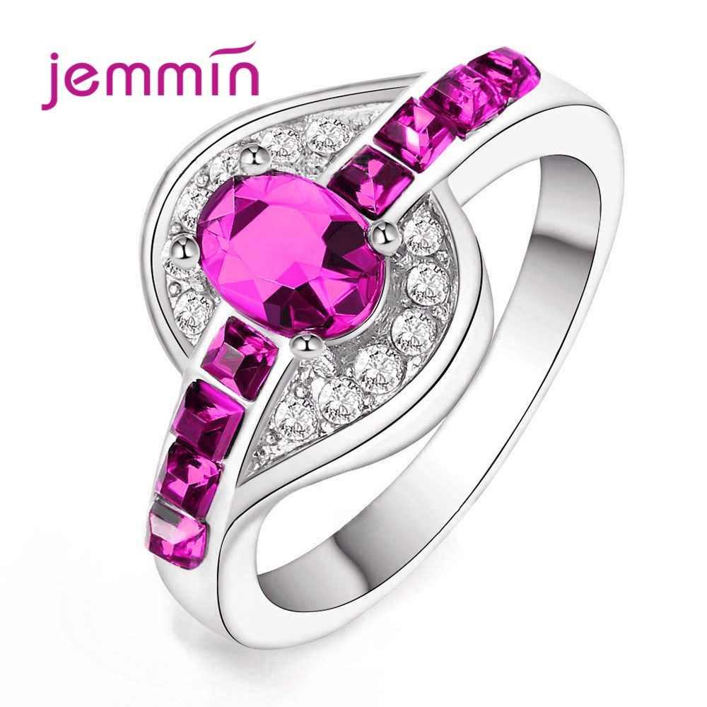 Tanio sprzedam Rhinestone pierścionki dla kobiet mężczyzn 925 Sterling Silver owalny kryształ kamień Rippled Finger akcesoria biżuteria 5 kolorów