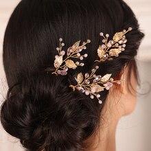 Hat Jewelry Leaf-Accessory Three-Hair-Pins Wedding-Hair Crystal Gold Female Chic-Fashion