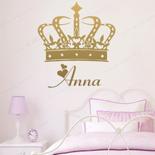 Crown Custom Name Wall Sticker vinyl For Kids Room Art Decal personalized girls bedroom wall decor JH224